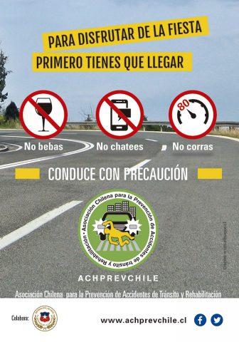 Flyer campaña Asociación Chilena para la Prevención de Accidentes de Tránsito (ACHPREVCHILE)