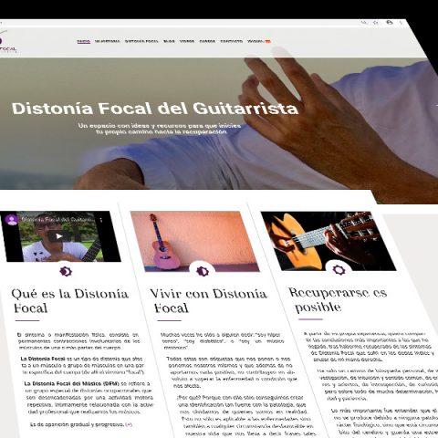 Diseño y mantención web Distonía Focal del Guitarrista. Incluye Blog, Hosting y mantención anual