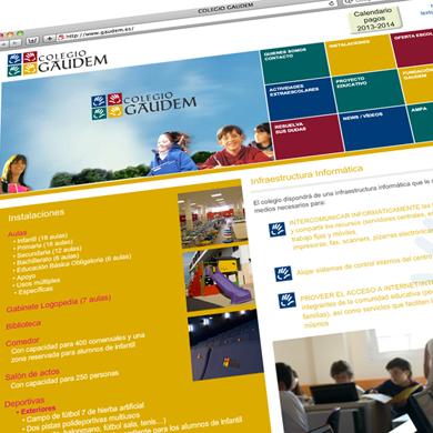 Colegio Gaudem. Diseño  y realización web site.